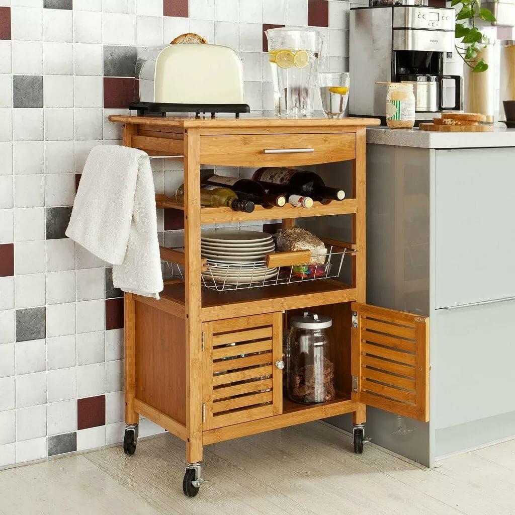 стеллаж на кухне по уровню нижнего шкафа