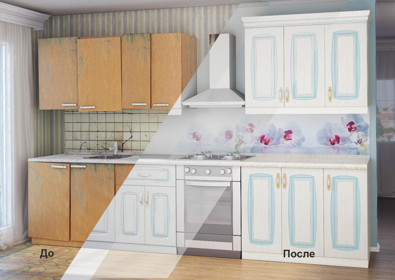 замена кухонных фасадов до и после