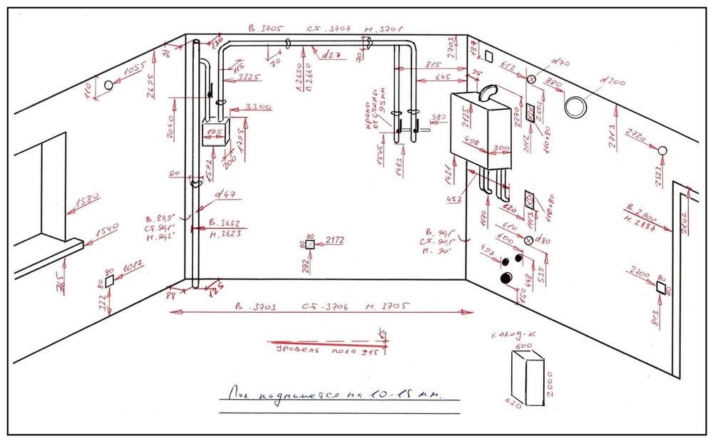Пример схемы замера кухни