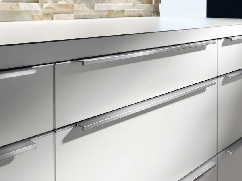 горизонтальные ручки на белых фасадах кухни
