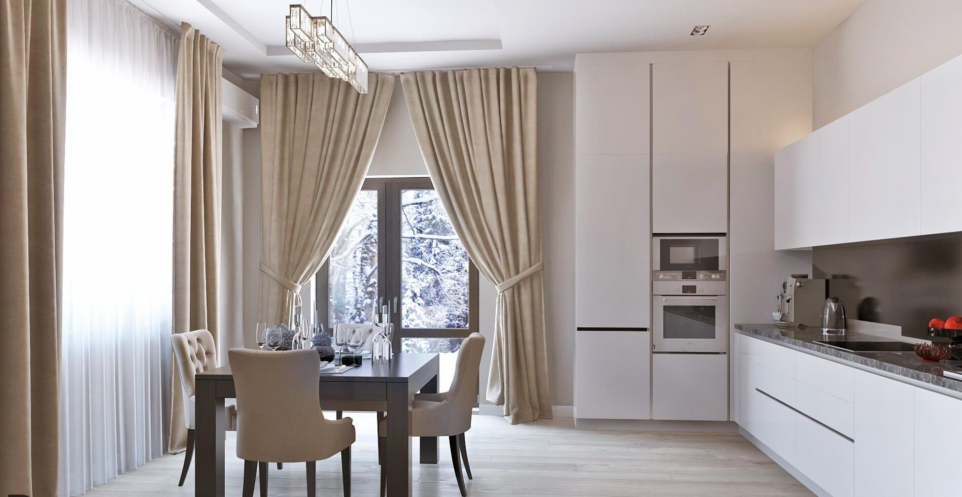 белая кухня без ручек в классическом стиле