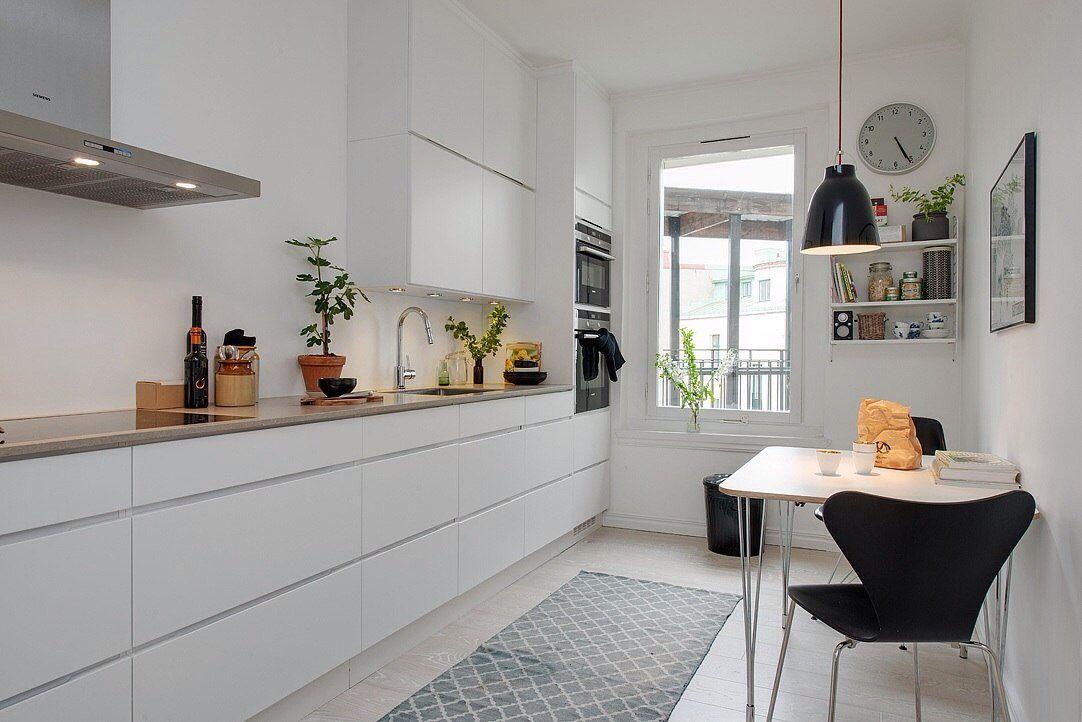 скандинавский стиль кухни без ручек