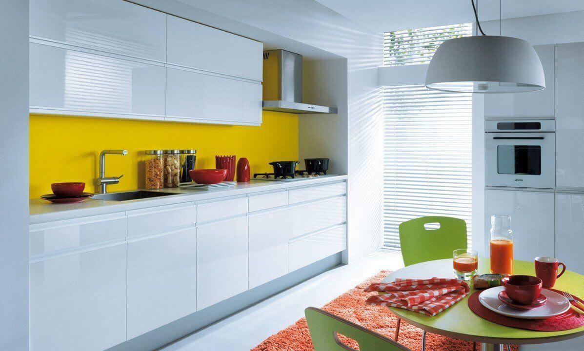 белая кухня без ручек и желтая стена