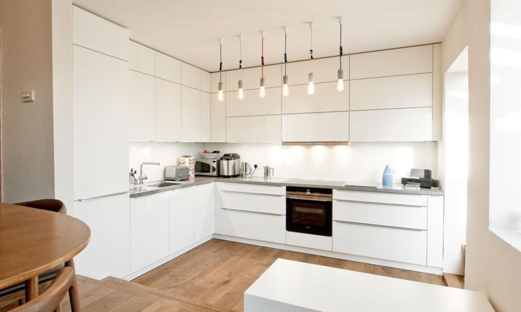 красивая белая кухня без ручек