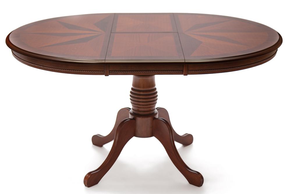 овальный раздвижной стол из дерева