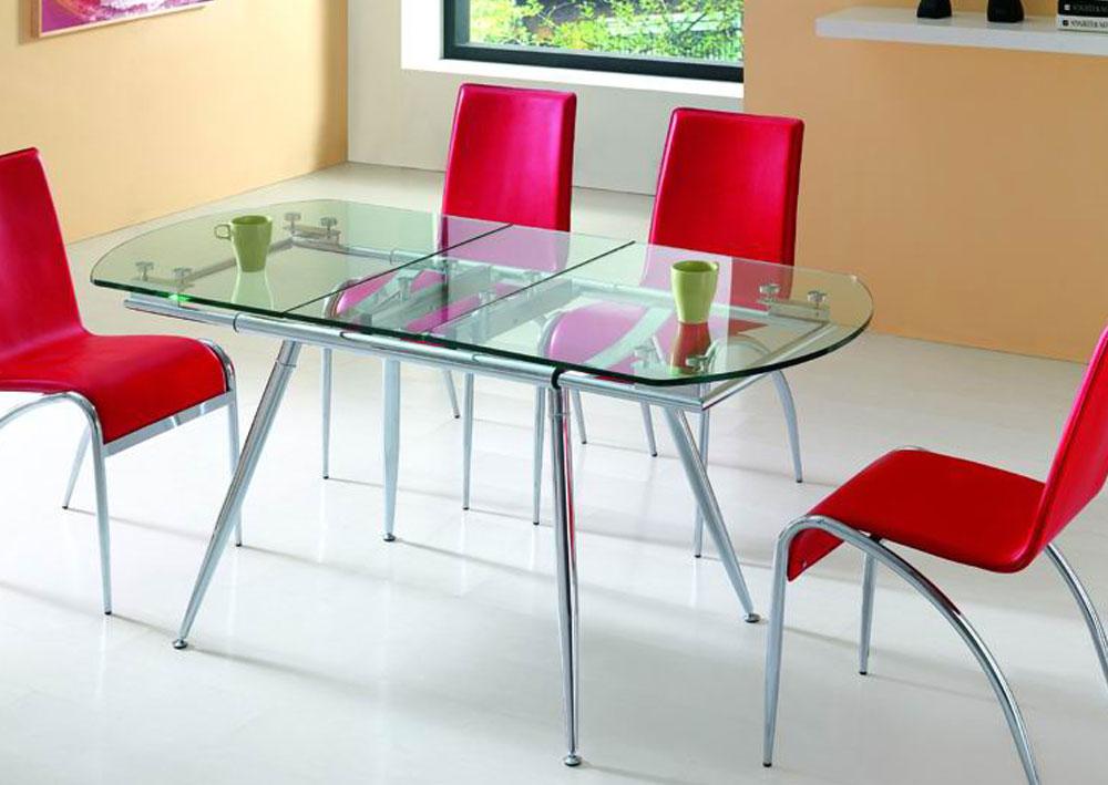прозрачный стеклянный раздвижной стол