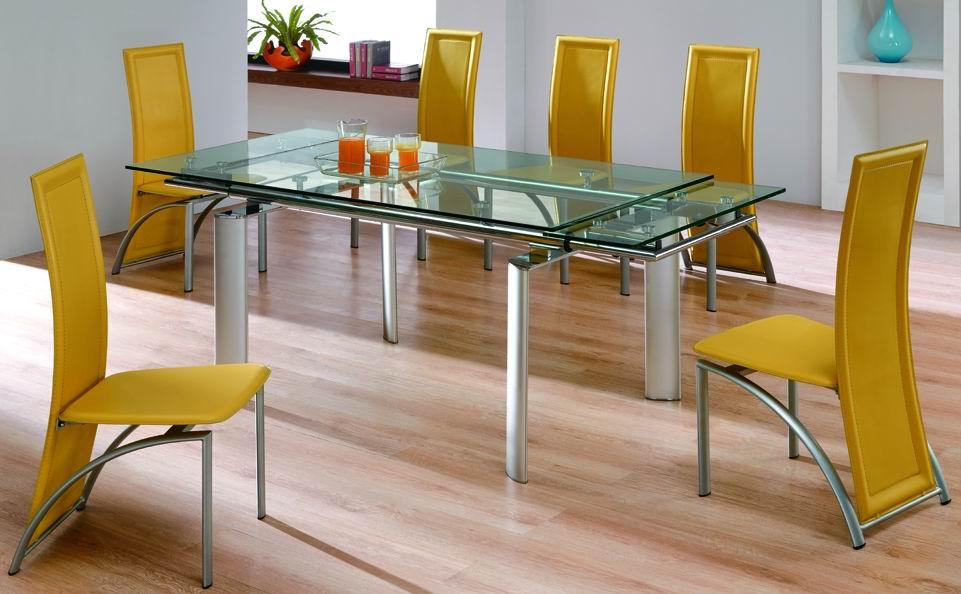 стеклянный стол с выдвигающейся столешницей