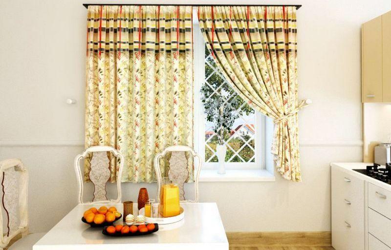 красивые короткие шторы на кухне