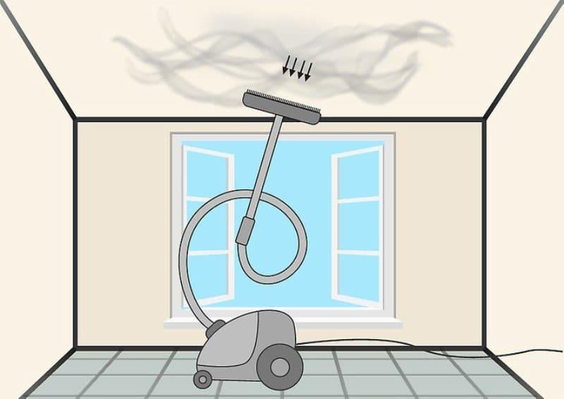 перед уборкой нужно убрать паутину