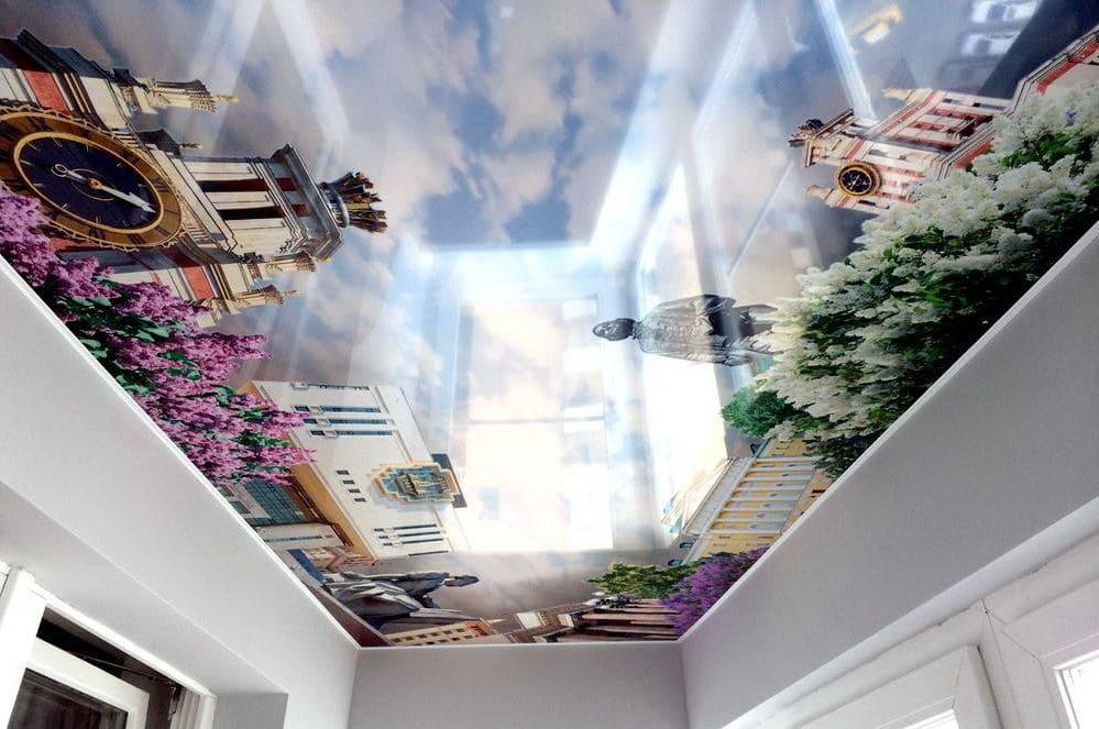 глянцевый натяжной потолок с фотопечатью