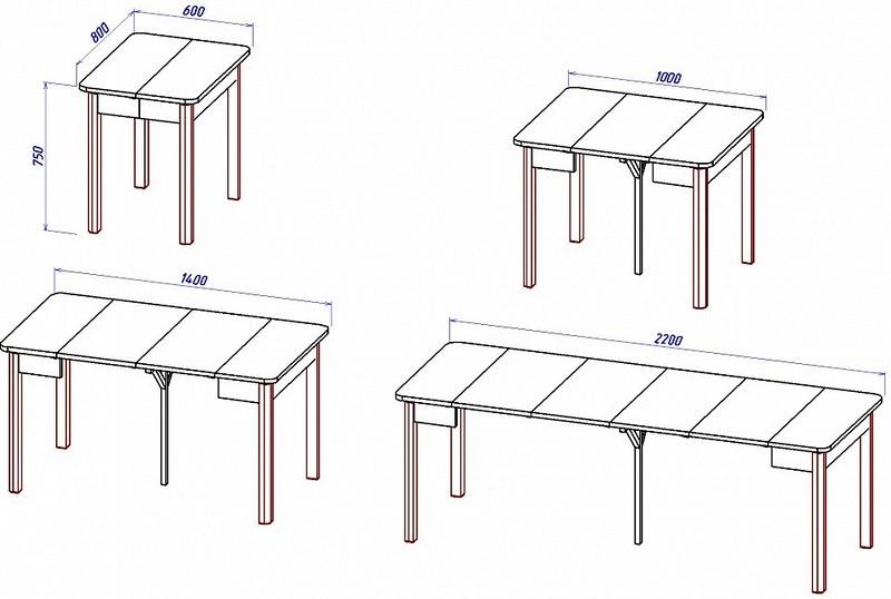 чертеж обеденного стола на кухню