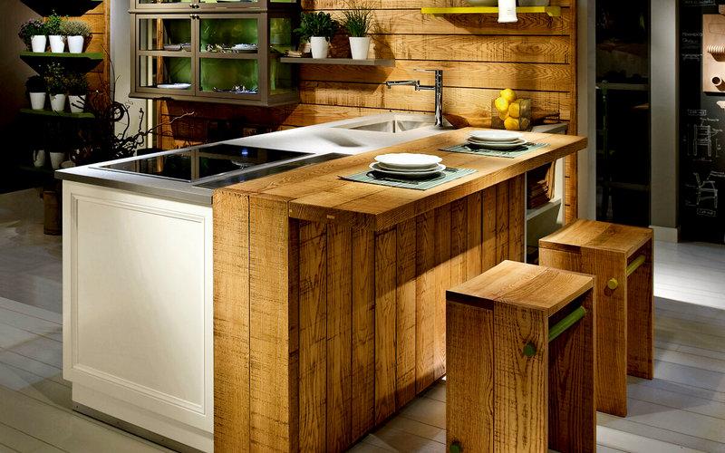 барная стойка островного типа на кухне