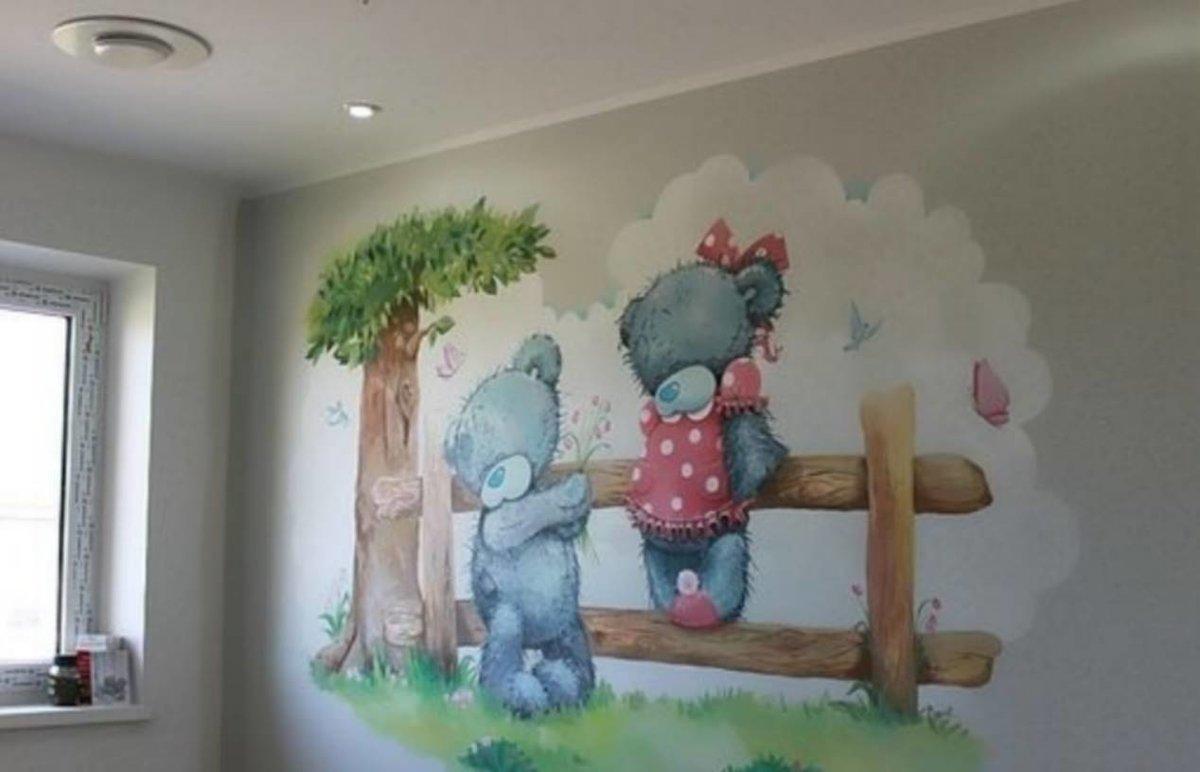 мишки рисунок на стене