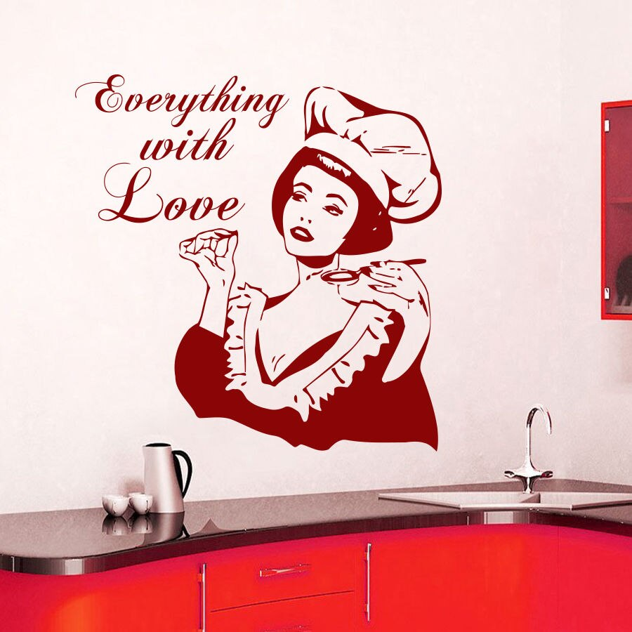 красная наклейка в цвет кухни