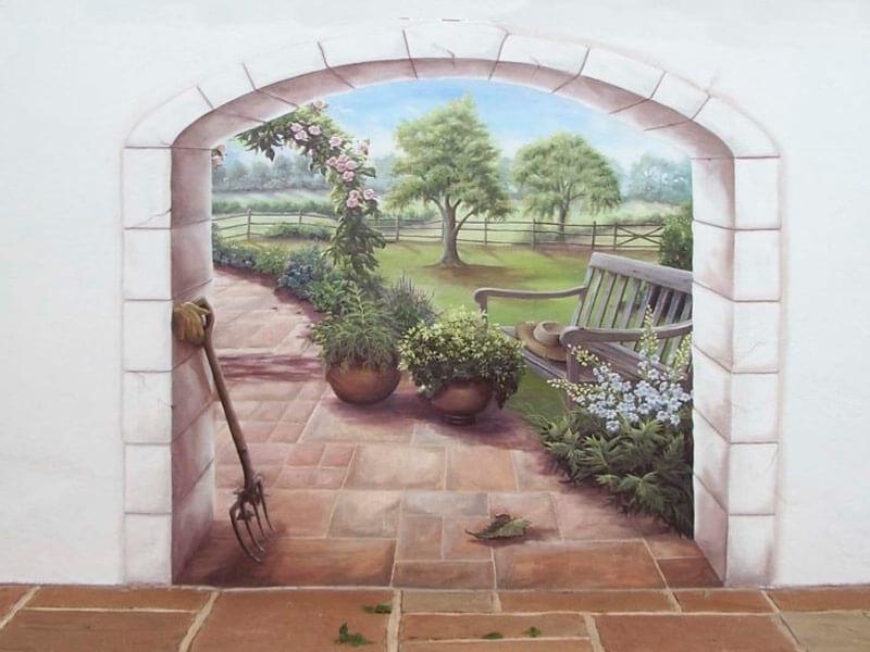 трехмерный рисунок на стене