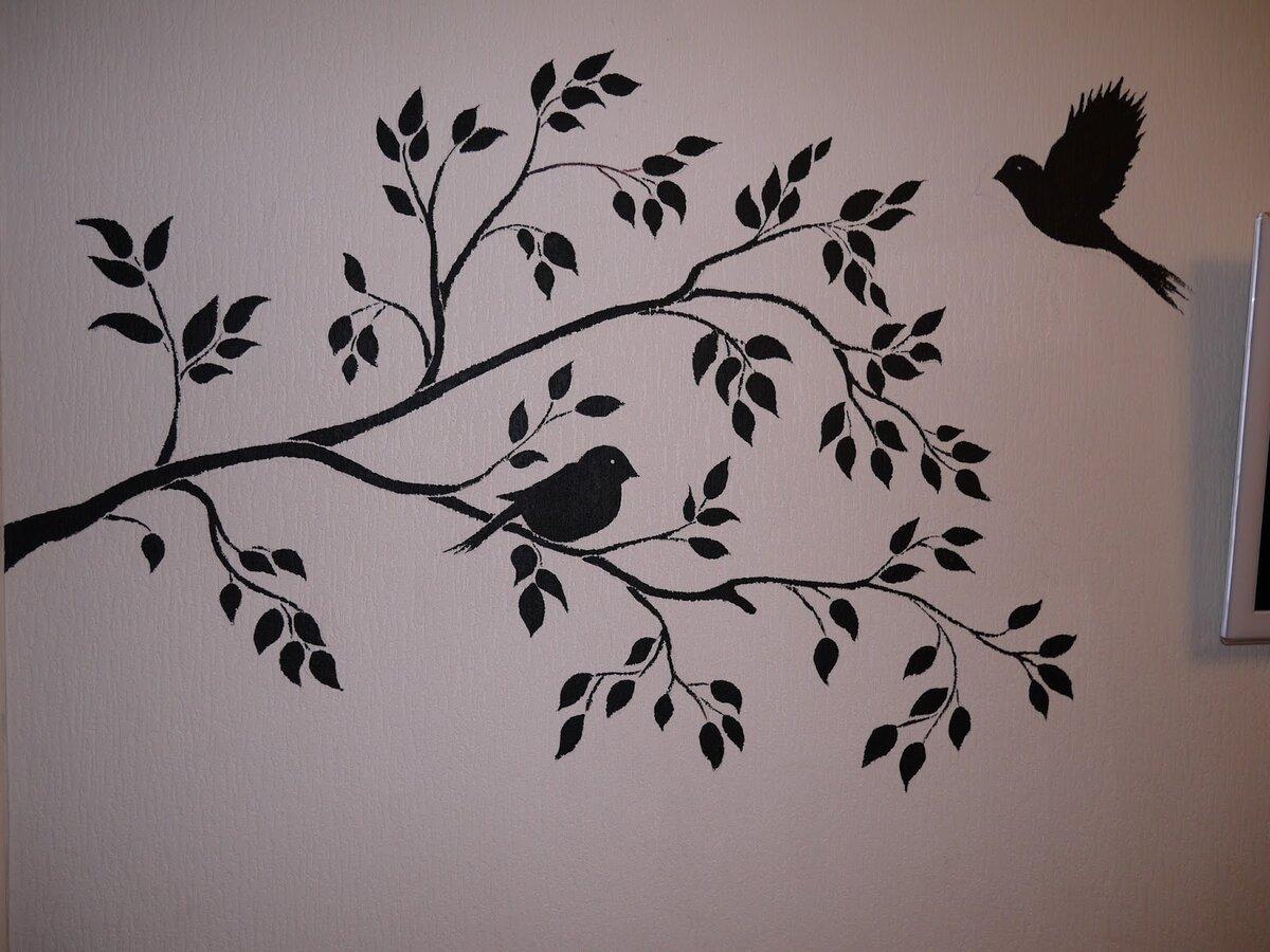 ветка с птицами рисунок