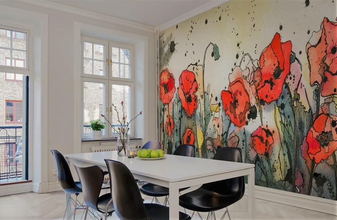 цветы на стене рисунок