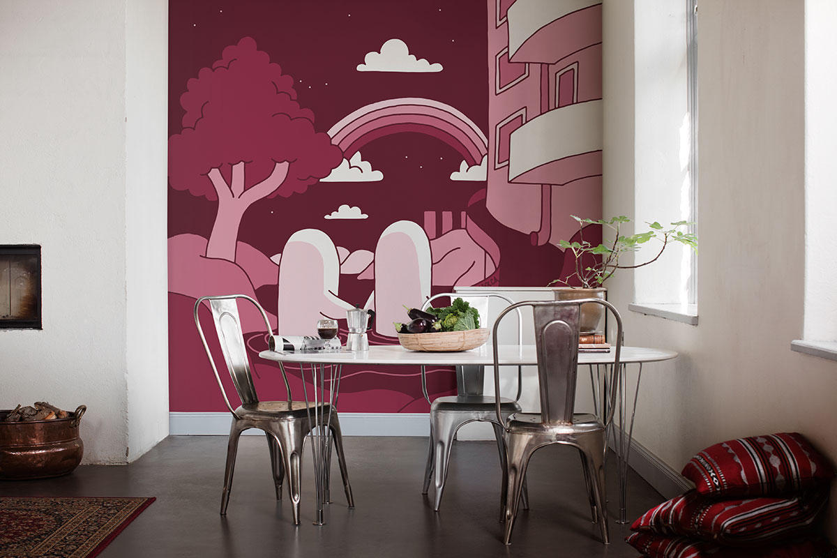красивая раскрашенная стена