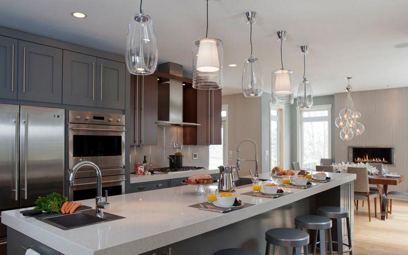 интересное освещение кухни