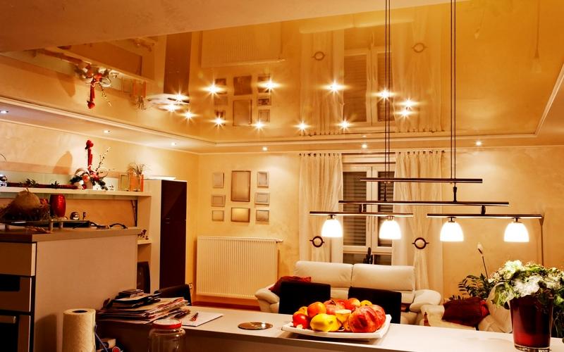 освещение для натяжных потолков для кухни