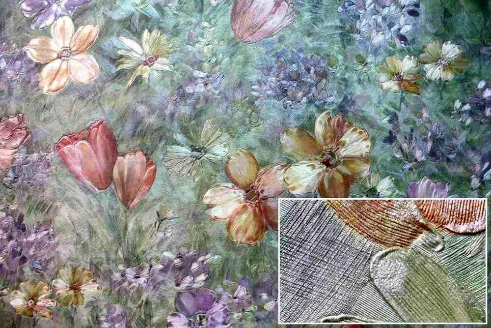 цветочные шелкографические обои