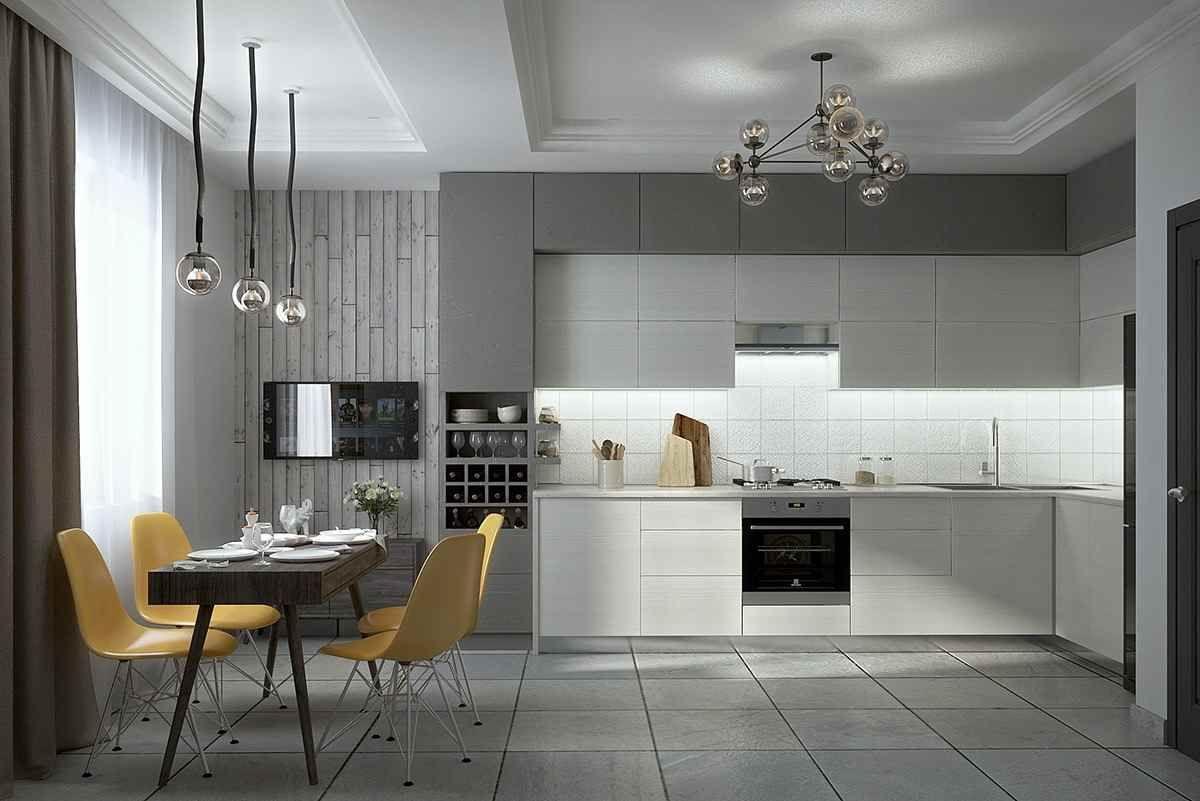 серые обои и белая кухня