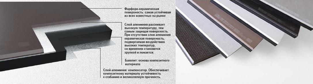 керамическая столешница Porzelanik с добавлением фарфора и алюминия