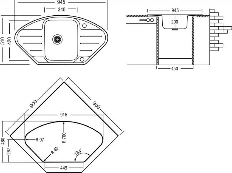 пример размеров трапециевидной кухонной мойки