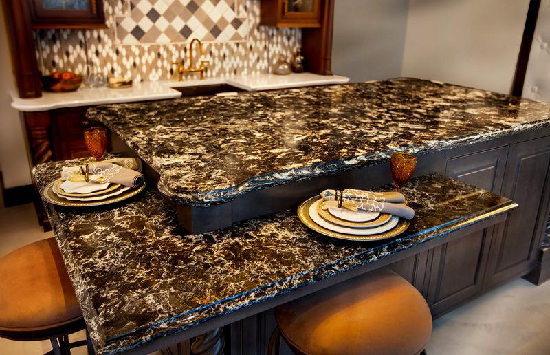 Фото столешницы из кварца для кухни
