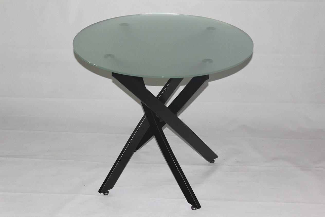 круглый матовый стеклянный стол