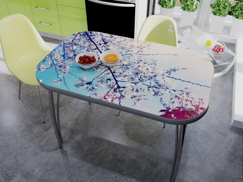 стеклянный стол с рисунком для кухни