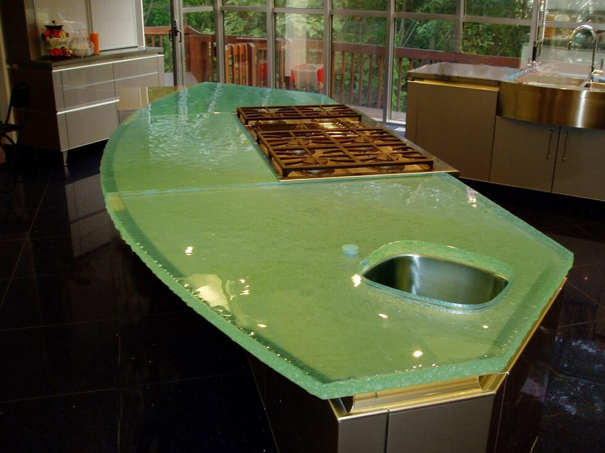 зеленая столешница стекло