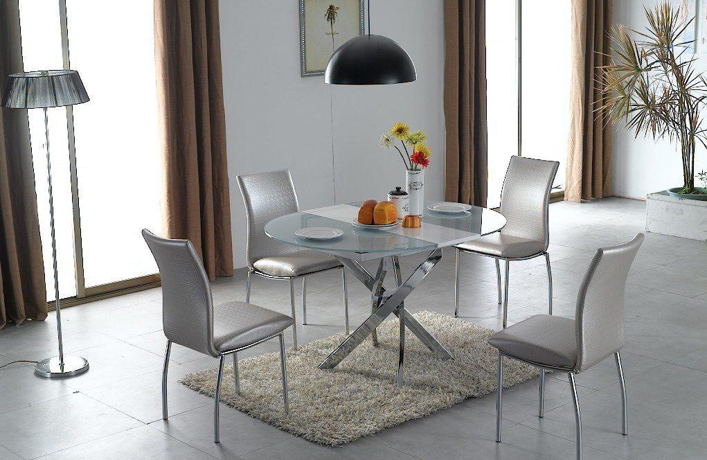 круглый стеклянный стол со стульями