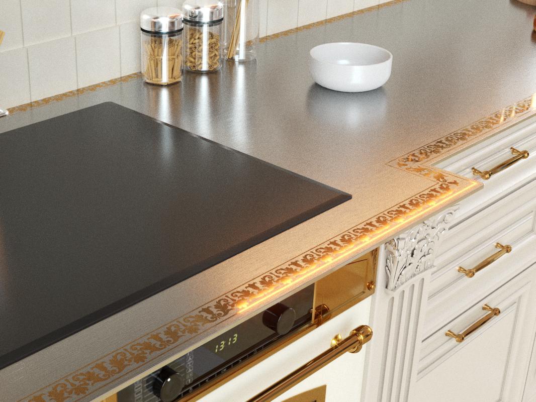 красивая металлическая столешница кухня
