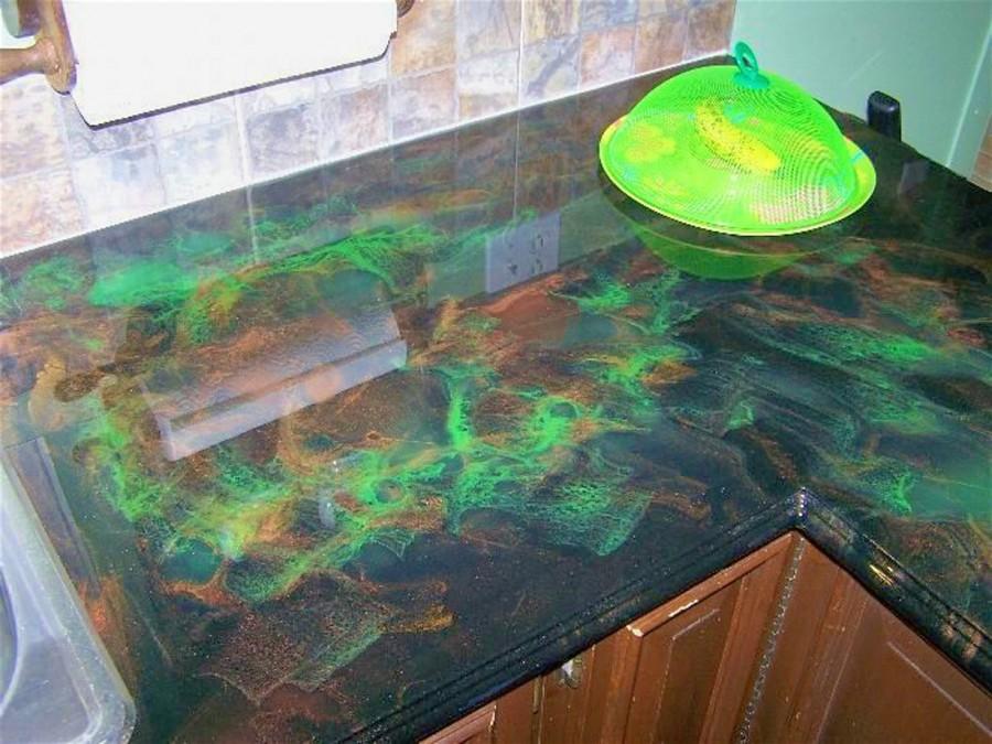 зеленая столешница для кухни эпоксидная смола