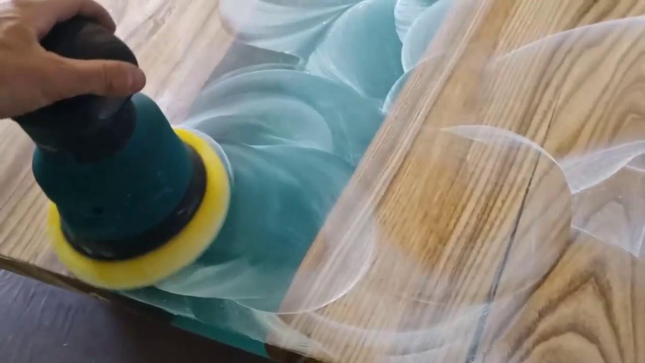 полировка готовой столешницы из эпоксидки
