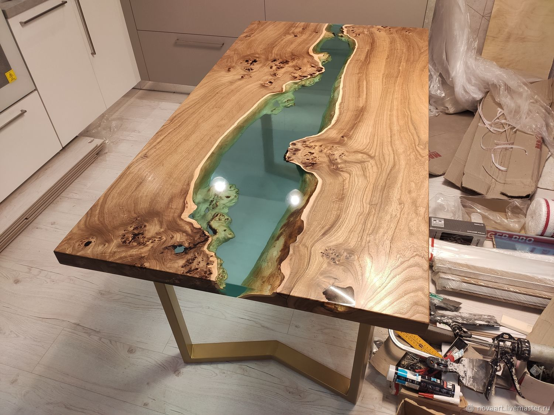 стол река из эпоксидки