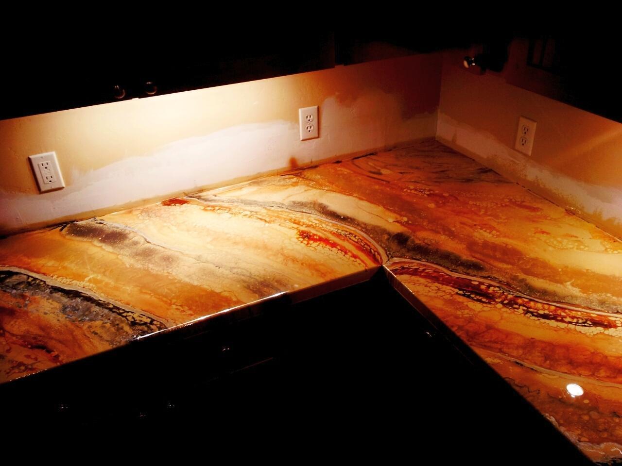 угловая столешница для кухни эпоксидная смола