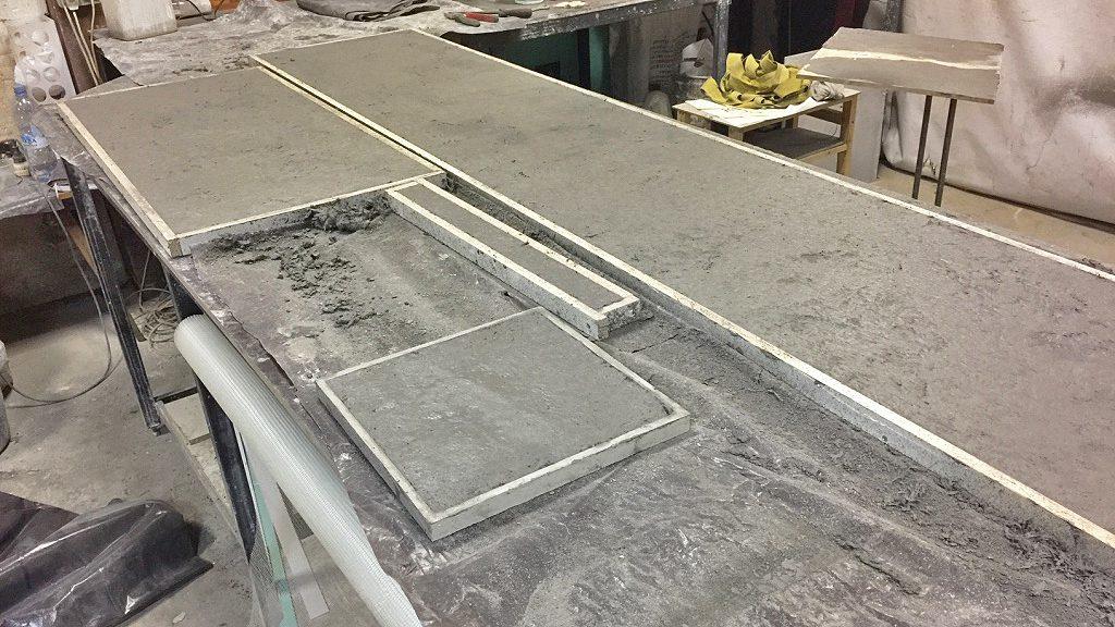 изготовление бетонная столешница для кухни