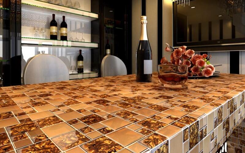 Дизайн красивой столешницы из мозаики