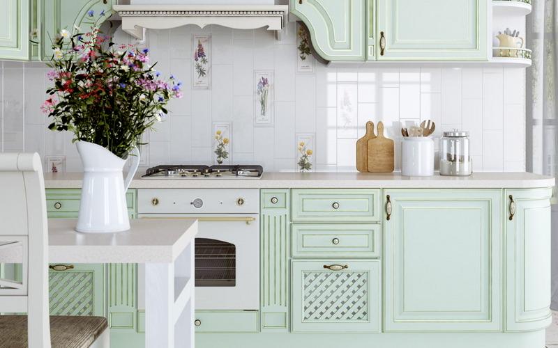 столешницы из мдф на кухне в стиле прованс
