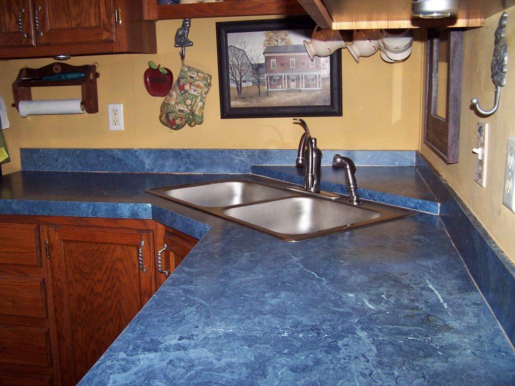 мраморная столешница для кухни синяя