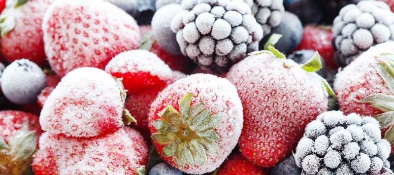 Быстро замороженные ягоды в холодильнике с функцией суперзаморозки